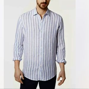 Tasso Elba Tileno Blue Linen Striped Button-Down